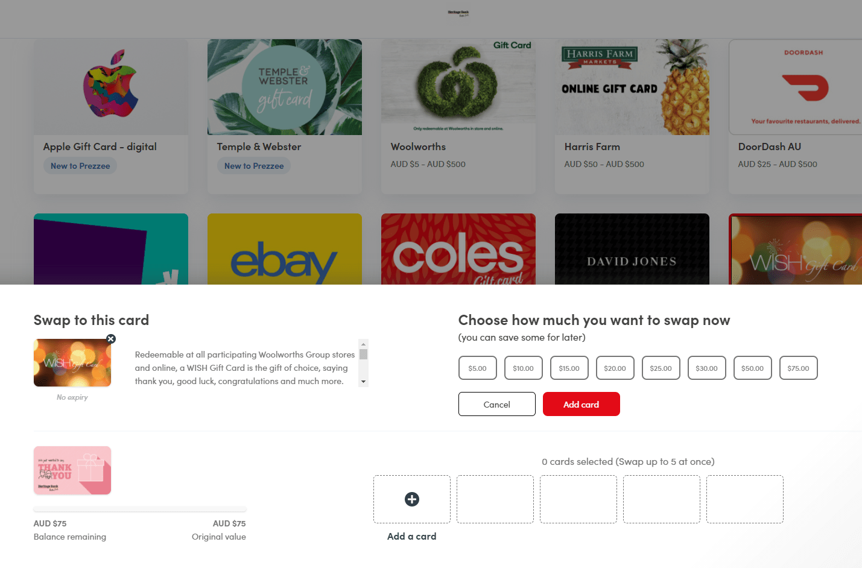 Prezzee eGift Card Retailer Selection